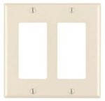 2-Gang Plastic Rocker Switch Wall Plate, Almond