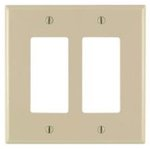 2-Gang Plastic Rocker Switch Wall Plate, Ivory