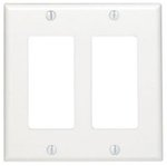 2-Gang Plastic Rocker Switch Wall Plate, White