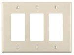 3-Gang Plastic Rocker Switch Wall Plate, Almond