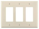 3-Gang Plastic Rocker Switch Wall Plate, Almond
