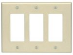 3-Gang Plastic Rocker Switch Wall Plate, Ivory