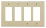 4-Gang Plastic Rocker Switch Wall Plate, Ivory
