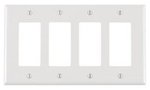 4-Gang Plastic Rocker Switch Wall Plate, White