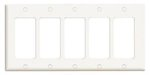 5-Gang Plastic Rocker Switch Wall Plate, White