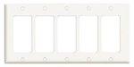 5-Gang Plastic Rocker Switch Wall Plate, White