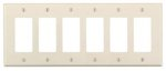 6-Gang Plastic Rocker Switch Wall Plate, Almond