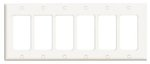 6-Gang Plastic Rocker Switch Wall Plate, White