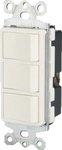 15 Amp Single Pole Triple Rocker Switch, White