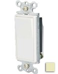 15 Amp Single-Pole Rocker Switch, Ivory
