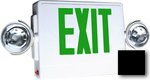 LED Emergency Exit Sign & Light Combo w/ Green Letter, Black