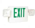 LED Emergency Exit Sign & Light Combo w/ Green Letter, White