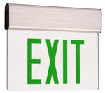 Edge Lit LED Exit Sign w/ Aluminum Housing, Green Letter