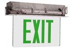 Edge Lit Double Face Recessed Exit Sign w/ Aluminum Housing, Green Letter