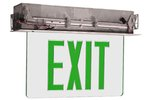 Edge Lit Double Face Recessed Exit Sign w/ Aluminum Housing, Green Letter