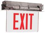 Edge Lit Recessed Exit Sign w/ Aluminum Housing, Red Letter
