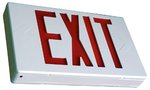 White LED Exit Sign w/ Red Letter & Battery Backup