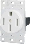 50 Amp Flush Mount Dryer Outlet, White