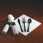 CaterWrap Pre-Rolled White Dinner Napkin w/ Black Cutlery 17X17