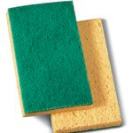 Yellow/Green Medium-Duty Scrubbing Sponge Pad