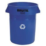 Brute Blue Round Recycling 32 Gal Container