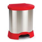 Red & Stainless Steel Medical Waste Step-On 23 Gal Container