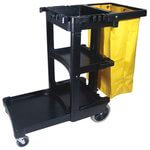 Black Janitor Cart w/ Yellow Zippered Vinyl Bag