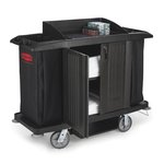 Black Compact Housekeeping Cart w/ Doors