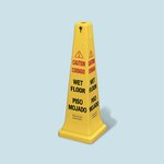 "Yellow ""Caution Wet Floor"" Safety Cone 17X12-1/4X36"