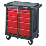 Black/Red Five-Drawer Mobile Workcenter