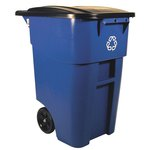 Brute Square Big Wheel Blue 50 Gal Recycling Rollout Container