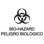 """White Bilingual Label """"Bio Hazard"""" Waste Decal 7X10"""