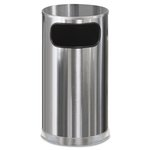 European & Metallic Satin Stainless 12 Gal Side-Opening Receptacle