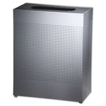 Silver Metallic Silhouette Rectangular Open Top 50 Gal Receptacle