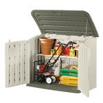 Taupe/Green Large Horizontal Outdoor Storage Shed 56.5X32X48