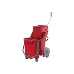 Red 8 Gal (30 Liter) Restroom Bucket & Bucket Press
