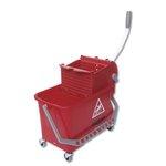 Red 4 Gal (15 Liter) Restroom Bucket & Bucket Press