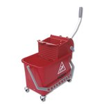 Red 4 Gal (15 Liter) Restroom Bucket & Bucket Press