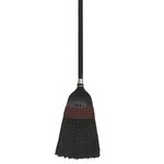 Black Plastic Bristles Janitor Broom w/ 42 in. Wooden Handle