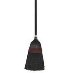 Black Plastic Bristles Janitor Broom w/ 42 in. Wooden Handle