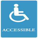 "Blue/White ""Accessible"" ADA Sign 6X9"