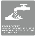 "Gray/White ""Employees Must Wash Hands"" ADA Sign 6X9"