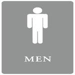 "Gray/White ""Men"" ADA Sign 6X9"