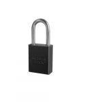 Aluminum Safety Padlock w/ 1.5-in Shackle, Black