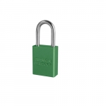Aluminum Safety Padlock w/ 1.5-in Shackle, Green
