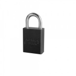 Aluminum Safety Padlock w/ 1-in Shackle, Black