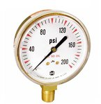 2.5 Inch Brass Welding/Compressed Gas Gauge, 400psi, 1/4-18 NPT LM