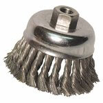 3 Inch Diameter Knot Wheel Brush with .012 Inch Stainless Steel Wire