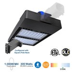 300W Shoebox LED Pole Light with Photocell, 1000W MH Equivalent, 39000 Lumens