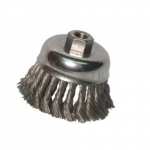 Knot Wire Cup Brush, 3 1/2 in Dia., 5/8-11 Arbor, .02 in Carbon Steel